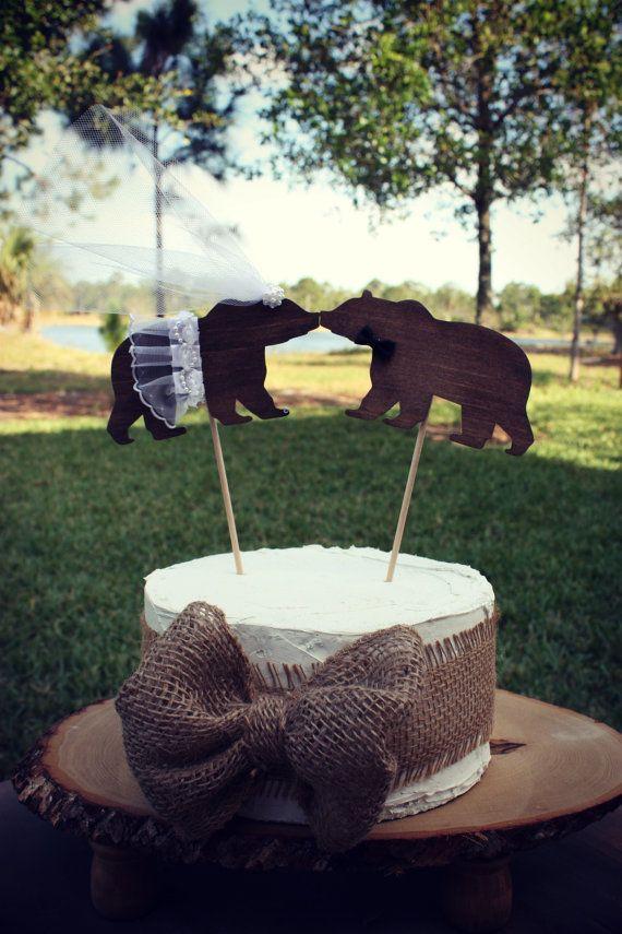 Bear wedding cake topper-bear lover-black bear-brown bear-wedding cake topper-hunting wedding-rustic wedding