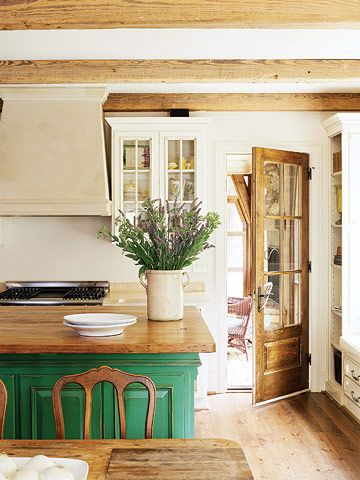 Cheery Green Kitchen Island ... Frenchy apple green, roughed up to indicate wear from age then rubbed with gold