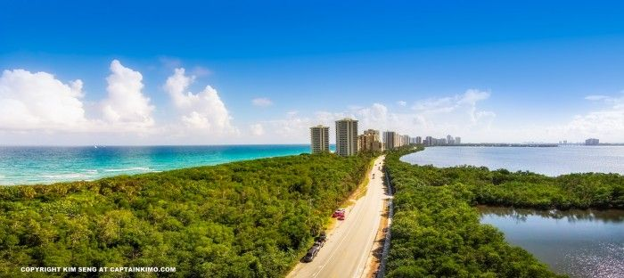 Beautiful aerial view of Singer Island, Riviera Beach, Florida, on an sun blue day in Palm Beach County.