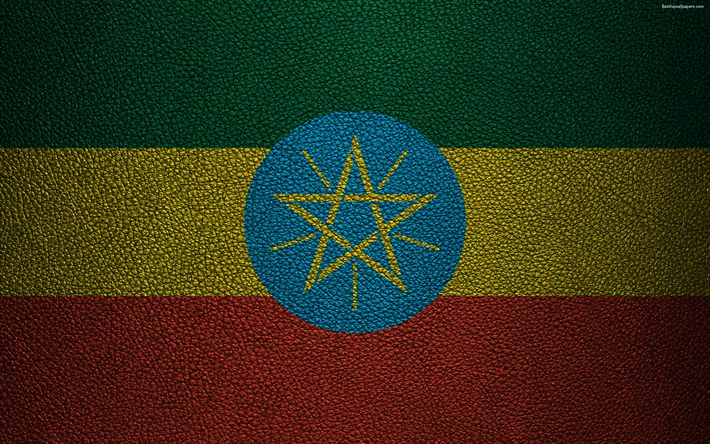 Download wallpapers Flag of Ethiopia, Africa, 4K, leather texture, Ethiopian flag, flags of African countries, Ethiopia
