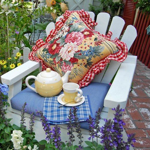 Tea in the garden.Adirondack Chairs, Secret Gardens, Teas Time, Afternoon Teas, Cottages, Gardens Chairs, Good Book, Teas Parties, Pillows