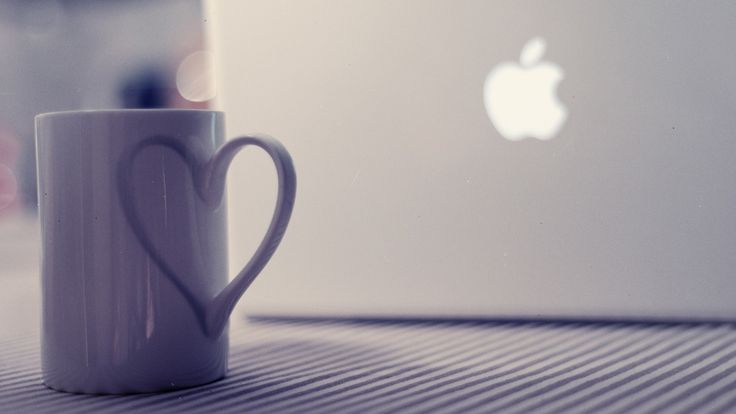 Notebook Apple Hi Tech Cup Mug Heart Love HD Wallpaper