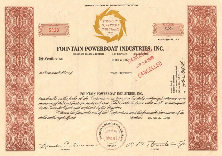 Fountain Powerboat Industries stock certificate 1988 (speed boats)