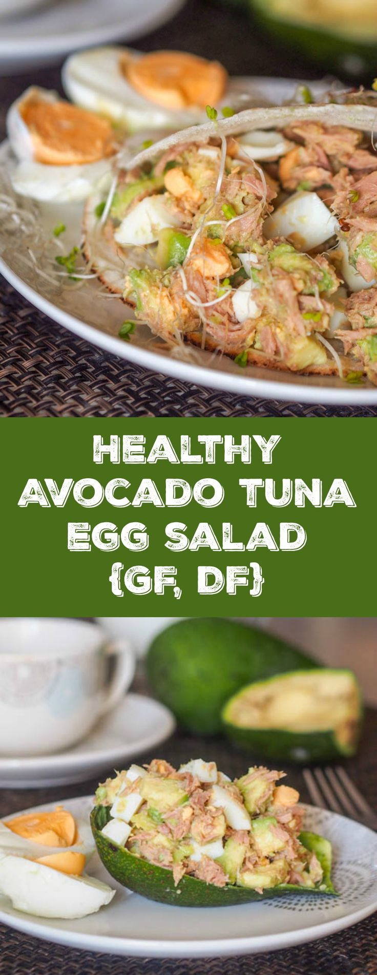 4 ingredient mayo free high protein low carb healthy avocado tuna egg salad. Avocado adds the perfect creaminess to bind everything together. Perfect breakfast or lunch. | avocadopesto.com