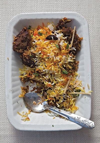 """Pakistani Lamb Biryani This recipe comes from SAVEUR kitchen assistant Ambreen Hasan, a native of Karachi, Pakistan. We featured it as part of our """"Queen of Spices"""" article (April 2010), an ode to the many ways in which cardamom is used. 