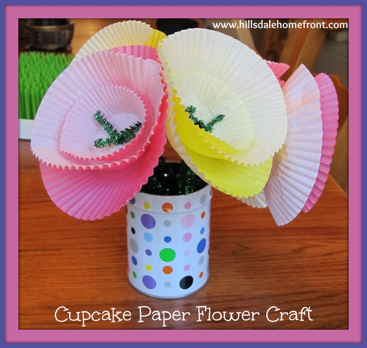 Cupcake paper flower craft for kids. Fun and easy. Had a hard