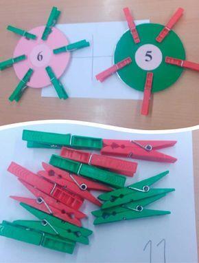 Círculos sabios con pinzas para trabajar la suma, la resta y la descomposición de los primeros números y la decena.