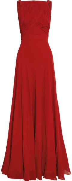 Saint Laurent Handpleated Silkgeorgette Gown - Lyst