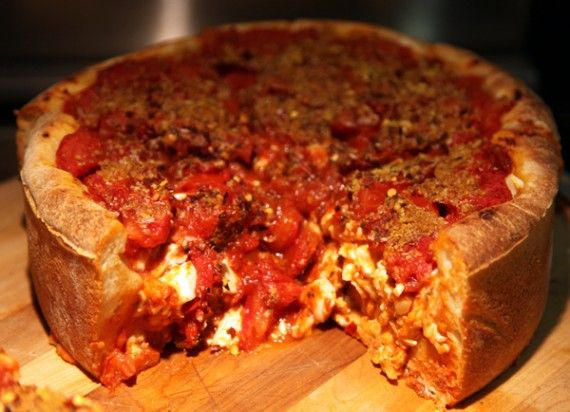 Vegan Chicago-style deep dish pizza