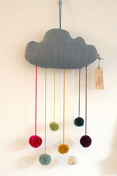 Pom Pom Wolke - Mobilé von Tante_Tin - Deko-Objekte - Wohnaccessoires - DaWanda