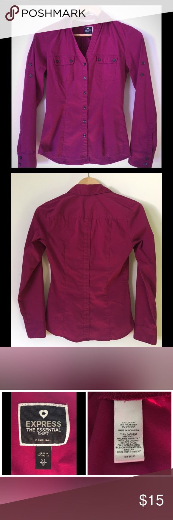 Express Convertible Essential Shirt, Magenta, XS Original fit, convertible sleeve Essential Shirt from Express in good used condition! Tuck into a pencil skirt for work or pair with jeans for a casual look.  Button front (extra button included!). Fitted shape. Front pockets. Long sleeves convert to half or 3/4 sleeves by rolling up, securing with tab & button.   Some signs of wear (photos): (1) Slight pilling between top and second buttons (2) Some threading has come undone from right collar…