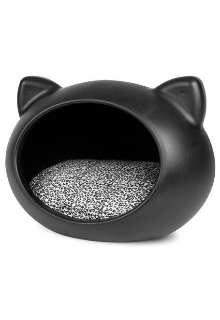 Cat Cave Negra - cojín Animal Print-negra para gato
