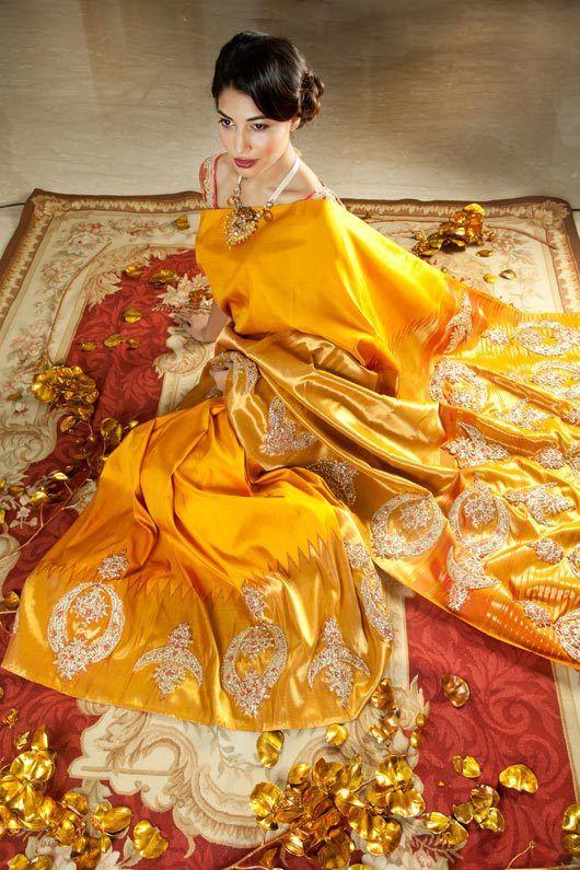 Yellow silk bridal saree by Pallavi Jaikishan. Consider a bridal saree in yellow silk. Trust us, it looks like liquid gold.
