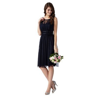 Debut Dark blue mesh corsage dress- | Debenhams