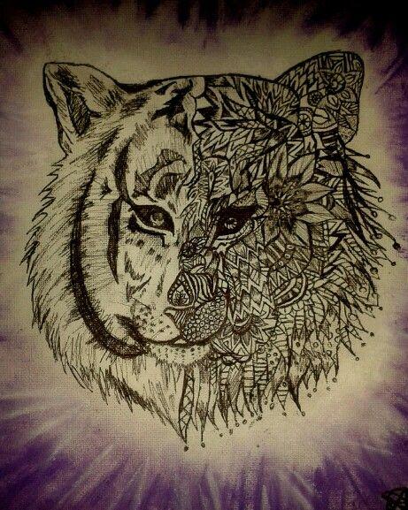 My half mandala tiger ♡