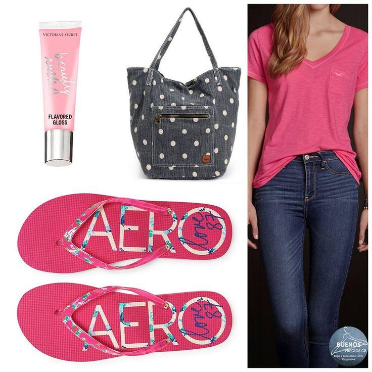 Blusa Hollister, bolso Roxy, labial Victoria's Secret y sandalias Aeropostale. Todo 100% original y muy chic!