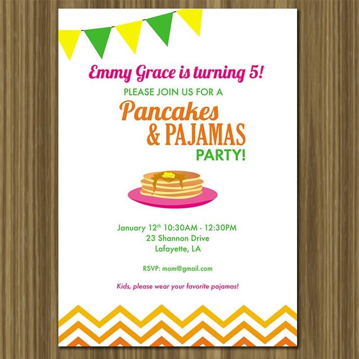 114 best Pancakes Pajamas 2nd Birthday Party images – Pancake Party Invitations