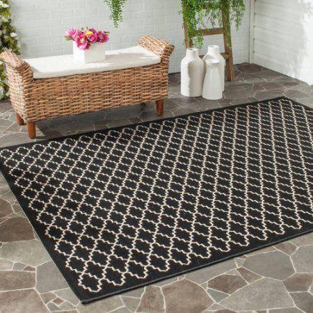 Safavieh Courtyard Hilbert Power-Loomed Indoor/Outdoor Area Rug or Runner, Black