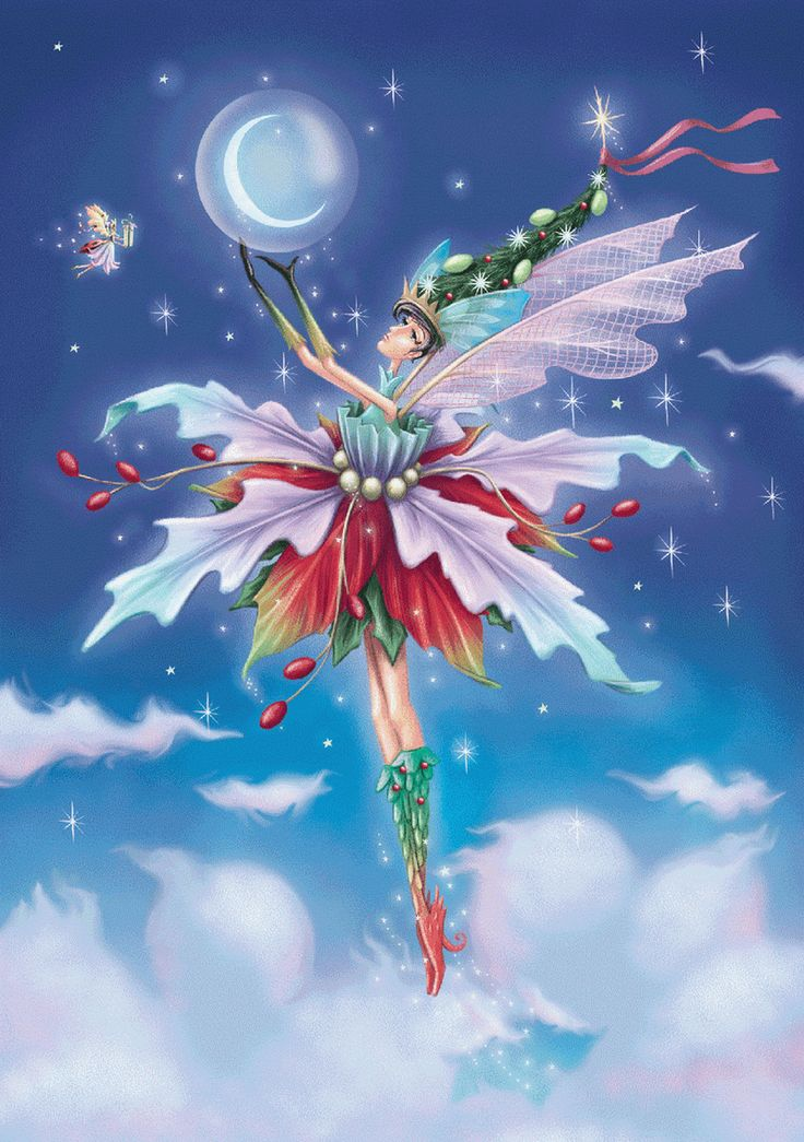 A whimsical fairy touching the moon.wYw - Мир друзей / зимние картинки от детских иллюстраторов