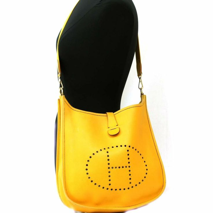 HERMES Leather Shoulder bag EVELYNE GM Mustard Yellow 1997 Purse ...