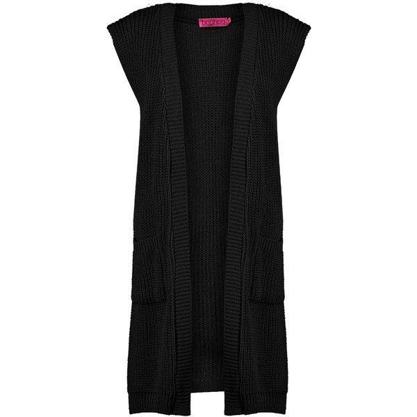 Boohoo Olivia Longline Side Split Sleeveless Cardigan (455 UYU) ❤ liked on Polyvore featuring tops, cardigans, sleeveless turtleneck top, sequin party tops, party tops, sleeveless cardigan and wrap top