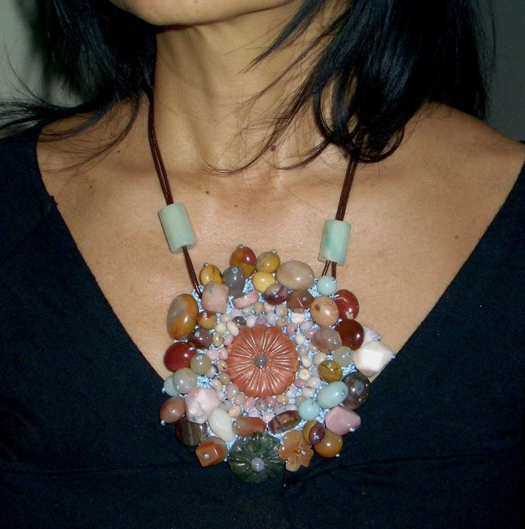 Fantastic Red MALACHITE, Multicolor AMAZONITE, AGATE Hand-crocheted into a Large Flower Fabulous Leather Adjustable Length Necklace by Ameogem on Etsy