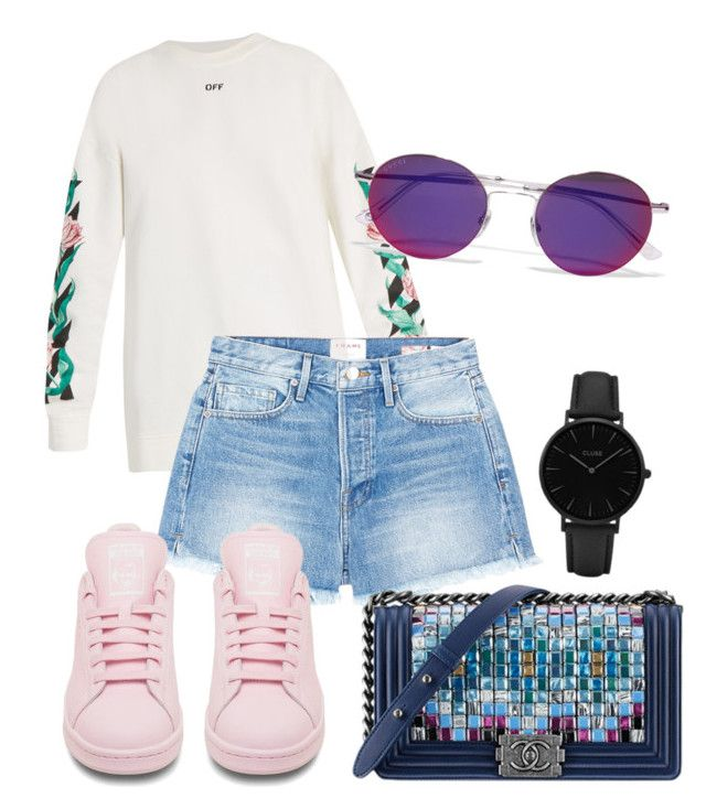 """""""Untitled #33"""" by distressqn on Polyvore featuring Off-White, Frame, adidas, Chanel, Topshop and Gucci"""