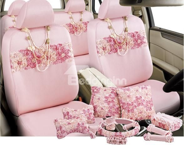 New Arrival Pretty Pink Flowers Hot Selling Girl's Seat Covers @beddingtons bed & bath inn