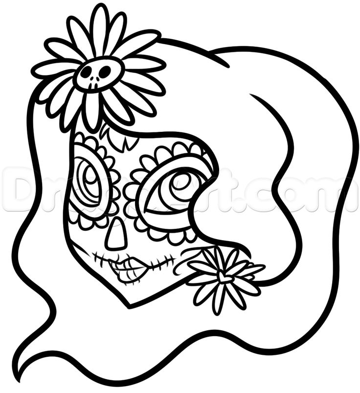 Easy Day Of The Dead Girl Drawing Tutorial Step 7