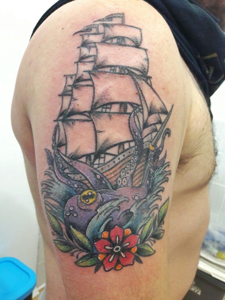 Ship & octopus tattoo 🐙