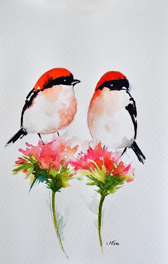 Pulgadas de 6x9.5 de pintura de aves acuarela por ArtCornerShop