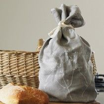 Hedgerow Collection - Hand Printed Linen Bread Bag - £19.95 As featured in Delicious Magazine. Perfect for storing loaves, rolls and patissiere this wonderful linen bread bag, featuring a hand printed design from our Hedgerow Collection, helps keep bread fresh for longer. Made from 100% linen with a natural cotton tie. Available in Natural, Indigo or Raspberry Linen. Measures 42cm x 18cm x 12cm. Machine washable at 40 degrees. Hand Printed and Made In Cornwall