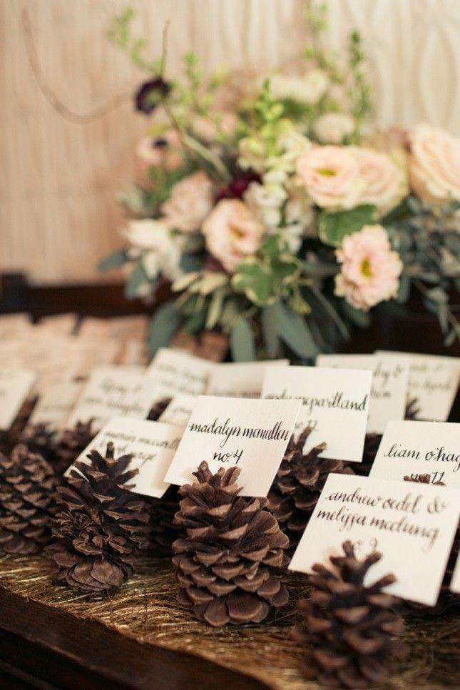 Nothing says fall more than pinecone escort cards. wedding place cards, sports wedding place cards #wedding #weddings