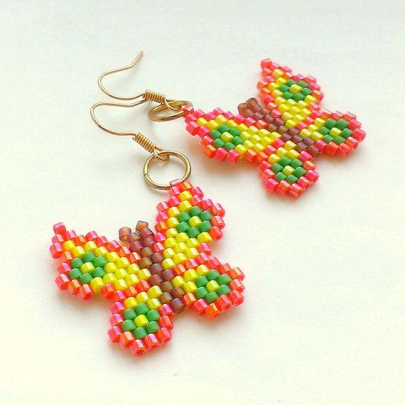 Fluttering Butterflies-Beaded Dangle Earrings-Colorful by Galiga