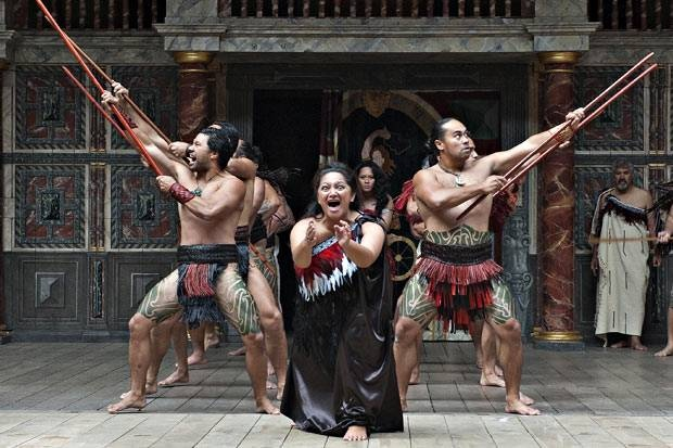 Dance moves: a haka performed as part of Troilus and Cressida at the Globe to Globe festival - By Glenn Copus. Spotlight on... Maoris. London Evening Standard