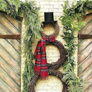 Snowman out of wreaths!