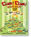 """Clang! Clang! Beep! Beep! Listen to the City   by Robert Burleigh (Paula Wiseman/S)  Picture book/concept book  Rhyming couplets describe city sounds with illustrations embedding the onomatopoeic sounds."""
