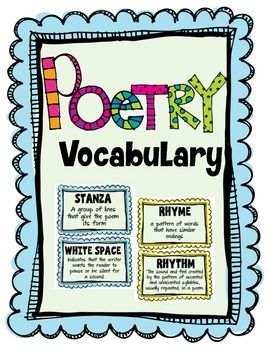 Great resource for teaching elements of poetry.  Includes: theme, stanza, white space, internal rhyme, structure, mood, line break, speaker, tone, meter, rhyme, rhythm, repetition, refrainALSO INCLUDED:Imagery, Alliteration, Simile, Metaphor, Personification, Hyperbole, Idiom, & OnomatopoeiaPLUS:List of Poetry Terms in nice graphic organizer, When Reading Poetry page, & one My Book of Poems page and Dedication page for student poetry books
