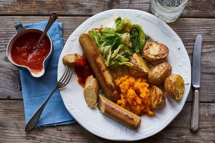Vegetarische worstjes met ovenaardappels en wortelpuree   Marley Spoon