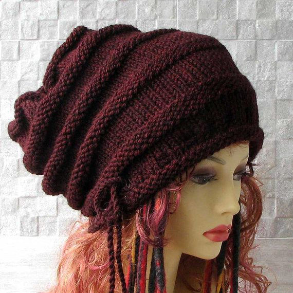 Large Baggy Hand Knitted  Huge Boho Hat by AlbadoFashion on Etsy