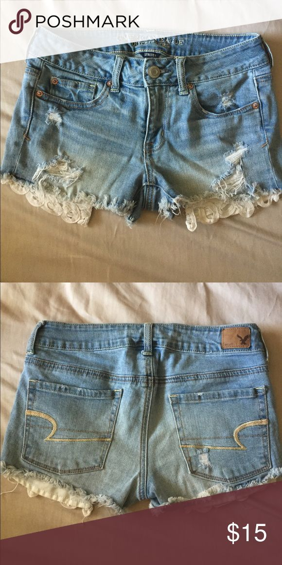 Distressed Lace Pocket Shortie Light blue denim lace pocket detail shortie✨ American Eagle Outfitters Shorts Jean Shorts
