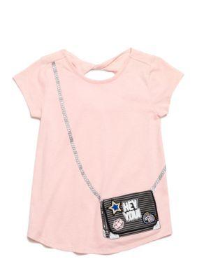 Jessica Simpson Girls' Katelyn Purse Tee - Girls 7-16 - Quartz Pink Patch Purse - M