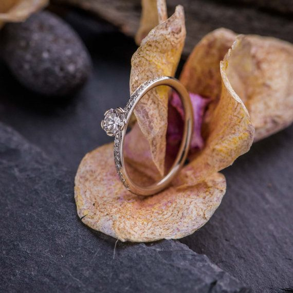 Engagement Ring in 18K White Gold with Brilliant by ZEHAVAJEWELRY