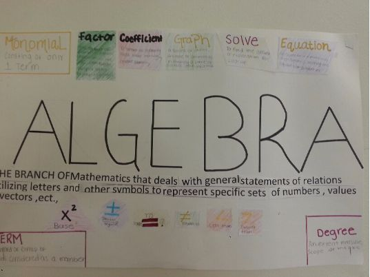 Defining Algebra Project This is a project idea used at the beginning of the year with Algebra 1 students. The goal of the project is to get them thinking about, researching and dabbling in what it means to be studying Algebra.