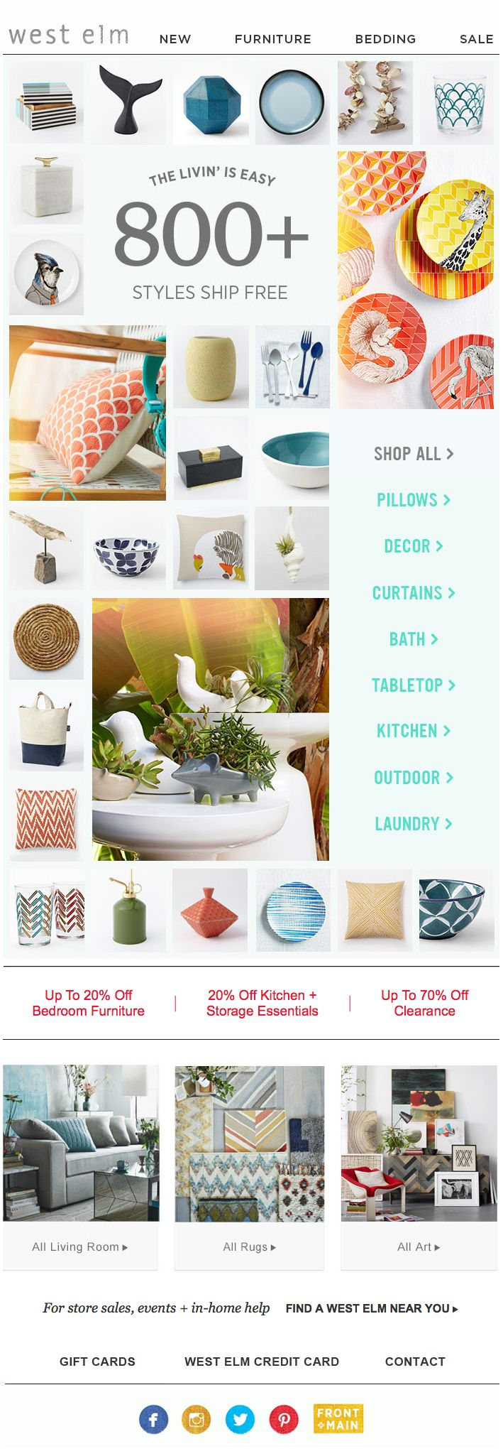 """""""West Elm : Grid + Category Buttons"""""""