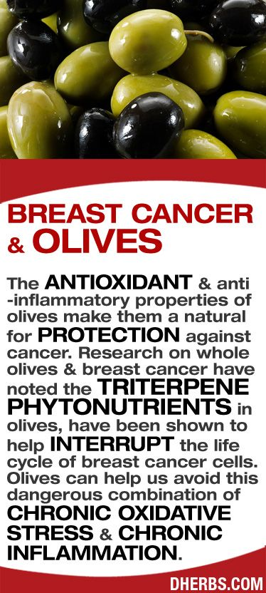 The antioxidant & anti -inflammatory properties of olives make them a natural for protection against cancer. Research on whole olives & breast cancer have noted the triterpene phytonutrients in olives, have been shown to help interrupt the life cycle of breast cancer cells. Olives can help us avoid this dangerous combination of chronic oxidative stress & chronic inflammation. #dherbs #healthtips