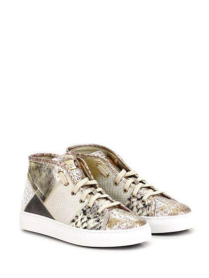 STOKTON - Sneakers - Donna - Sneaker in pelle laminata, pelle effetto pitone e glitter con zip su lato esterno e suola in gomma. Tacco 35. - ROCCIA\ORO