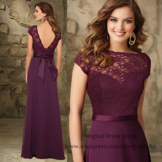 2016 Lace Long Eggplant Bridesmaid Dresses Cap Sleeve Backless Wedding Party Dress Floor Length Bow Vestidos De Madrinha BM452