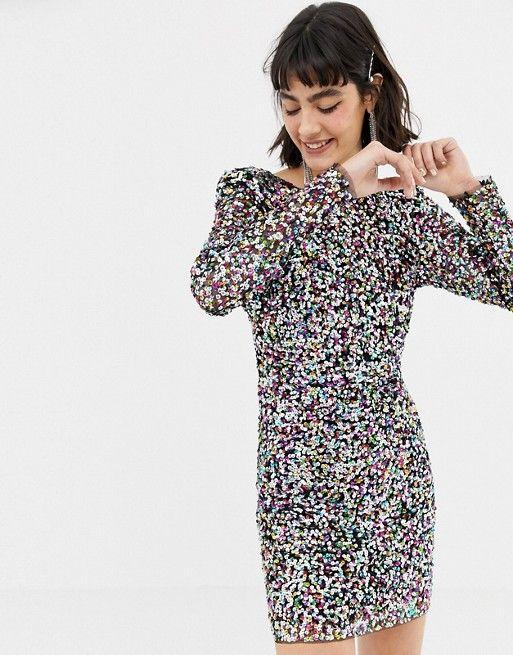 dce3445908b Mango long sleeve sequin dress in rainbow in 2019