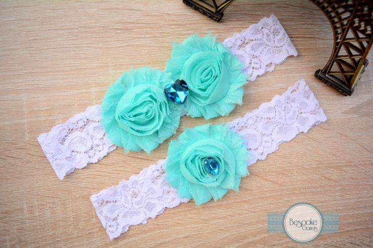 White Lace Garter with Baby Blue Flower & Crystal Aqua Rhinestone by BespokeGarters by BespokeGarters on Etsy